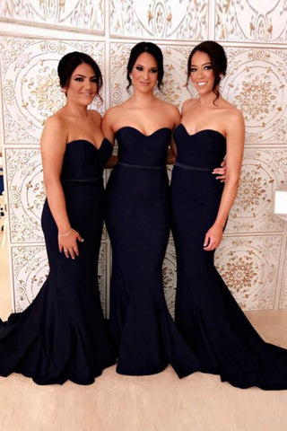 Mermaid Sweetheart Sweep Train Navy Blue Long Bridesmaid Dress OKR92