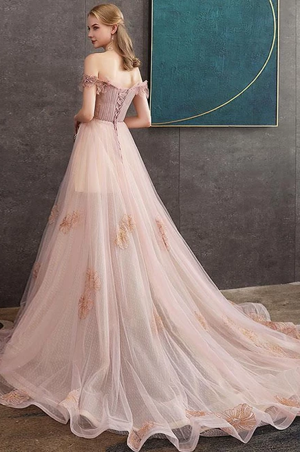 A-line Off-the-shoulder Pearl Pink Long Prom Dresses Evening Dress OKS23