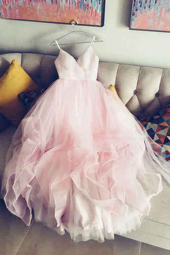 simple prom dress,spaghetti straps prom gown,tulle wedding gown,pink prom dress, pink wedding dress,v neck bridal dress