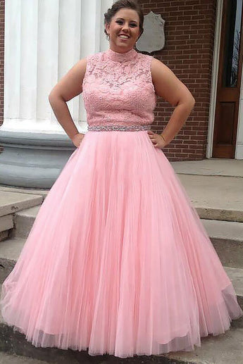 Pink Tulle High Neck Long Beading Plus Size Prom Dress With Lace Top OK660