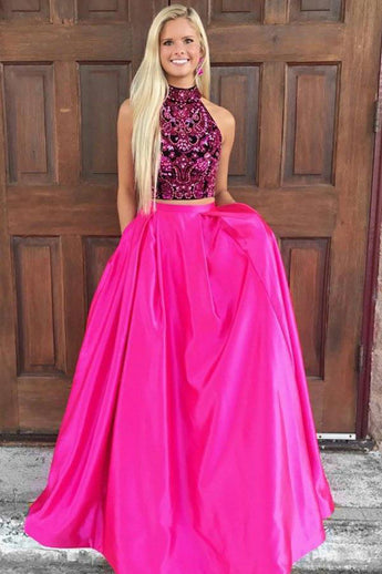 Two Piece Prom Dresses,High Neck Prom Gown,Open Back Prom Dress,Satin Prom Dress,Hot Pink  Prom Dress