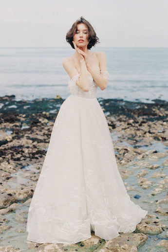 Ivory Wedding Dresses,Spaghetti Straps Wedding Dress,Beach Wedding Dresses,Lace Wedding   Dresses