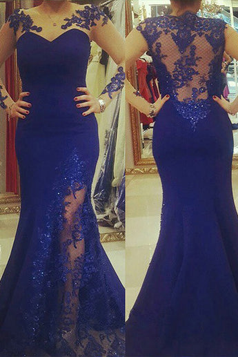 New Arrival Scoop Applique Long Sleeves Royal Blue Mermaid Plus Size Dresses OKF47