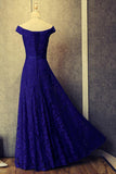 Royal Blue A Line Off Shoulder Lace Long Prom Dresses Evening Dresses OK741