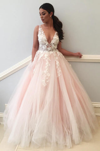 2c99ecbe44d Lace Applique Pale Pink Ball Gown Long V Neck Tulle Evening Prom ...