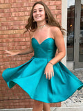 Simple A Line Short Strapless Sweetheart Neck Satin Cheap Homecoming Dresses OKB69