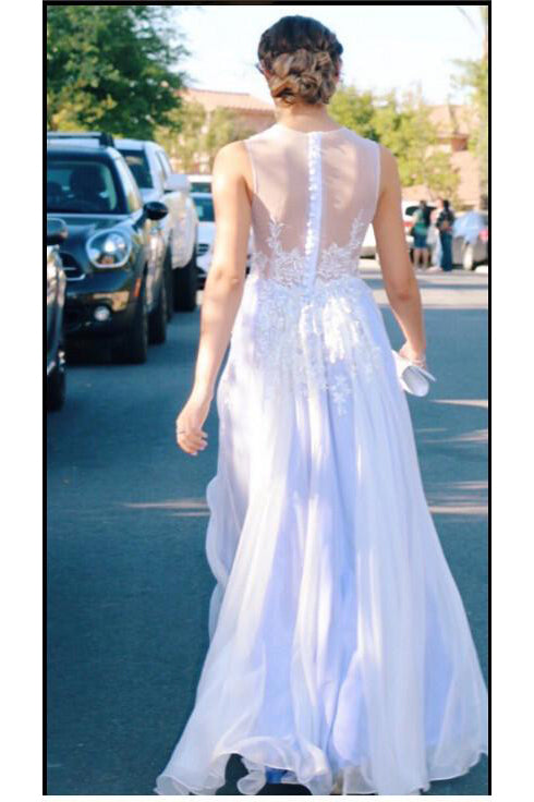 Affordable See Through Appliques Slit Prom Dress For Teen,Graduation Party Dresses OK734
