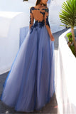 Charming Long Sleeve Appliques Sexy See Though Blue Prom Dresses OK852