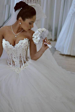 Princess Ball Gown White Sweetheart Strapless Beading Wedding Dress ...