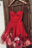 Burgundy Tulle Short Prom Dress, Spaghetti Straps Homecoming Dress With Flowers OKL79