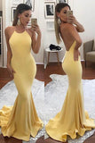 Fashion Prom Dress,Yellow Prom Dresses,Mermaid Evening Gown,Sexy Prom Dresses,Backless Prom Gown,Long Prom Dress,Formal Evening Dresses