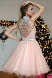 Chic Pearl Pink A Line Appliques Beading Short Homecoming Dress OKB51