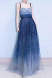 Chic Prom Dresses,A-line Prom Dress,Spaghetti Strap Prom Gown,Sleeveless Evening Dress,Royal Blue Prom Dress,Tulle Evening Dress,Long Prom Dress