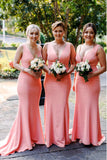 Mermaid V-Neck Sweep Train Pink Satin Simple Bridesmaid Dress OKR28