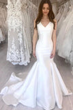 Simple Mermaid Wedding Dresses V-Neck Chapel Train Sleeveless Bridal Dress OKW40