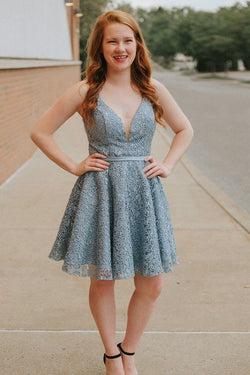 A-Line Spaghetti Straps Backless Blue Lace Homecoming Dress OKM13