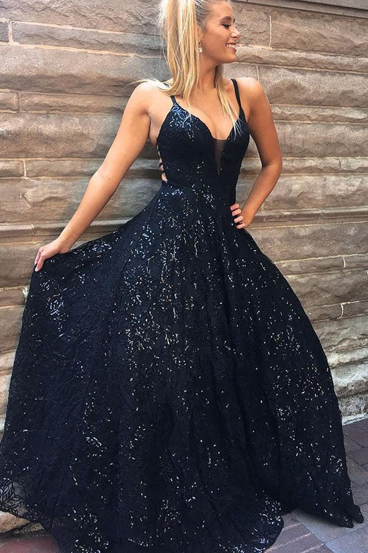 A Line Spaghetti Straps Floor Length Navy Sequined Prom Dress OKQ61