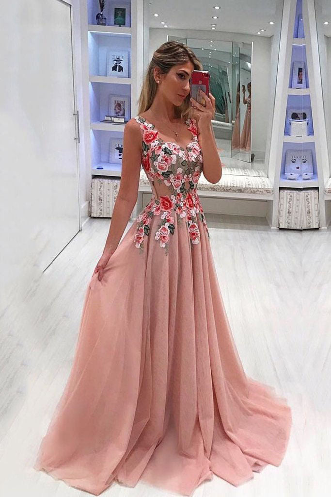 A Line Broad Straps Floral Appliqued Prom Dress, Cheap Long Tulle Evening Dresses OKI33