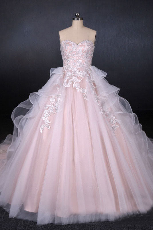 Romantic Pearl Pink Ball Gown Wedding Dress, Sweetheart Appliques Bridal Gown OKQ24