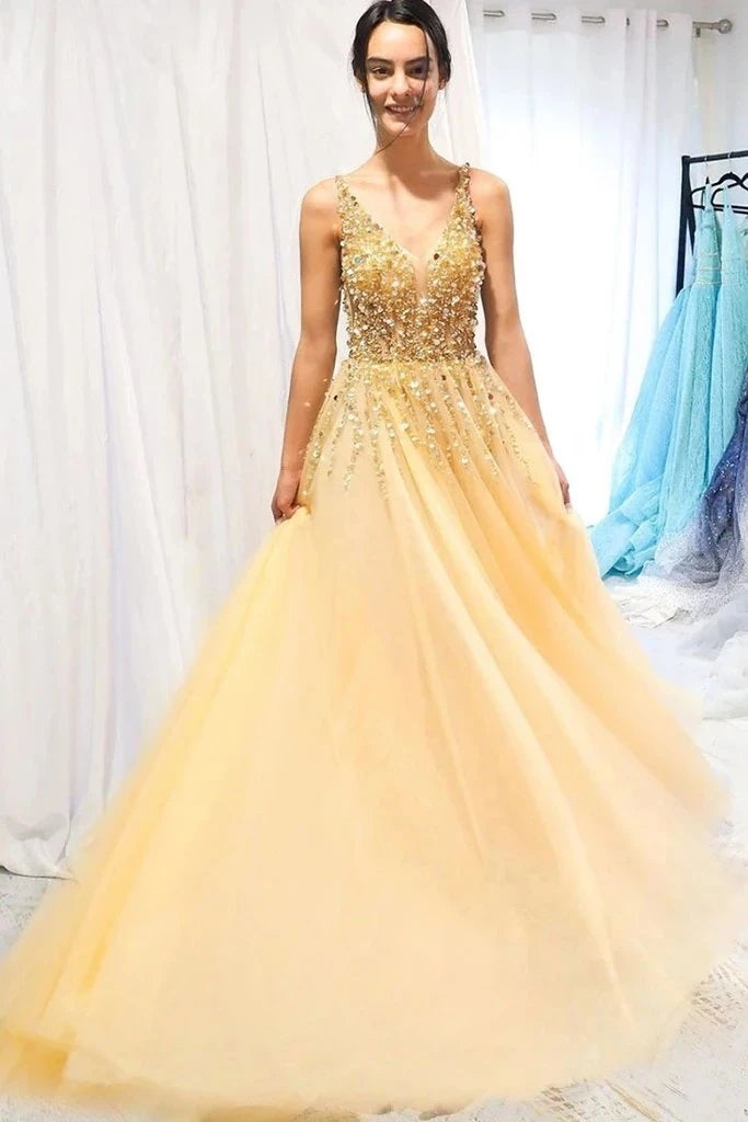 A Line Floor Length Tulle Prom Dress with Sequins, Cheap V Neck Long Formal Dresses OKU23