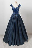 Elegant Dark Navy Cap Sleeves A Line Long Prom Gown with Appliques OKU28