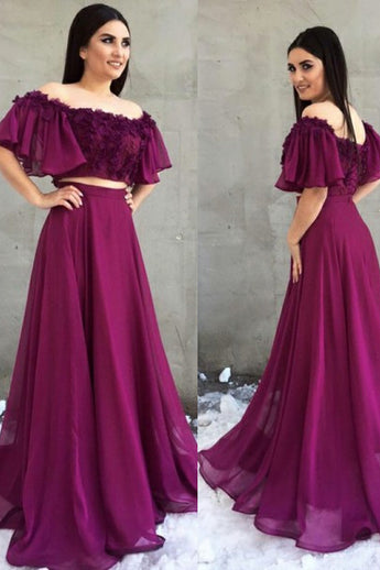 Two Piece A-Line Off the Shoulder Purple Chiffon Prom Dress with Appliques OKH5