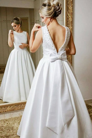 A-Line Jewel V Back Floor-Length Satin Wedding Dress with Beading Bowknot OKR80