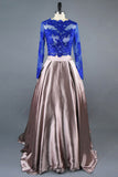 A Line Royal Blue Two Piece Long Sleeve Lace Top Prom Dresses OK614
