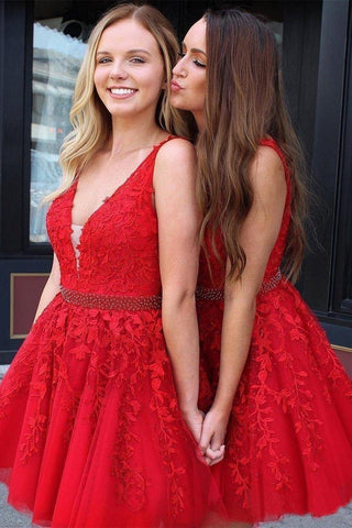 Red Lace Applique Beaded Homecoming Dresses V Neck Tulle Short Prom Dress OKO11