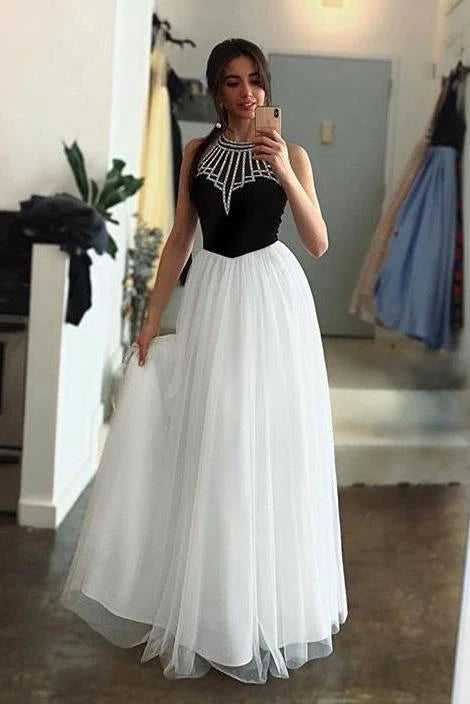 White Tulle Long Prom Dress With Black Top A Line Sleeveless Long Party Dress with Beading OKU25