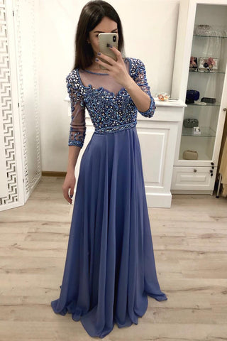 Chiffon A Line 3/4 Sleeves Beaded Blue Long Prom Dresses, Formal Party Dress OKI18