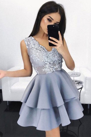 Mini homecoming dresses,A-Line homecoming dress,short party dress,short prom dress,Appliques homecoming dress,v neck homecoming dress,Graduation Dresses