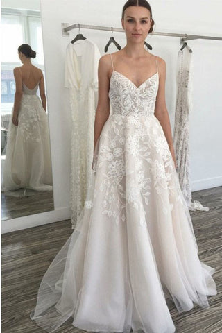 fc9759badcf2 Cheap Spaghetti Straps Backless Off White Wedding Dress with Lace Appliques  OKK44