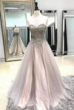 A Line Long Spaghetti Straps Sweetheart Beading Tulle Prom Dress OKB93