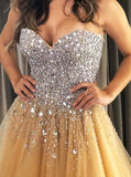 Sweetheart Gold Tulle A Line Prom Evening Dresses with Beading OKT96