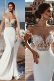 Mermaid Cap Sleeves Sheer Neck Long Wedding Dress OKP71