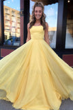 Yellow Long Chiffon A Line Prom Dresses 2020 with Lace Up Back OKS51