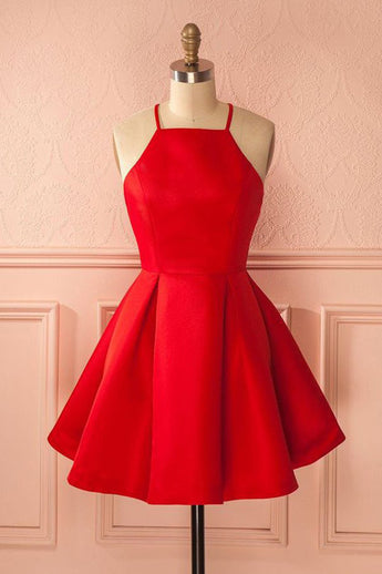 Short Straps Red Simple Satin Cheap Homecoming Dress for Girls OK235