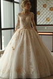 3/4 Sleeve Lace Appliques Tulle Ball Gown Plus Size Wedding Dress OK639