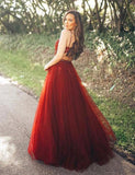 Red Tulle A Line V Neck Spaghetti Straps Appliques Long Prom Dress OK962