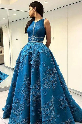 Unique Applique Formal A Line Blue Long Cheap Prom Dresses OKF96