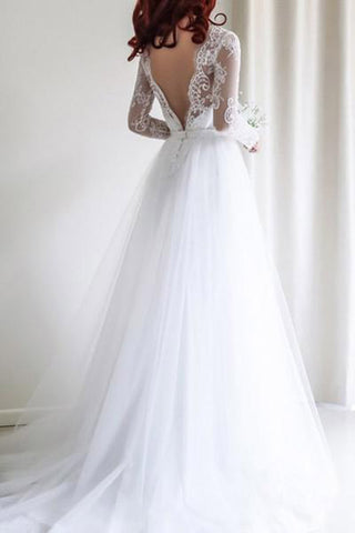 Simple A-line Long Sleeves White Tulle Lace Top Long Wedding Dresses OKA47