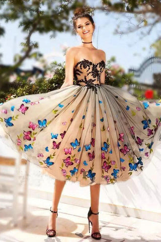 93978f661e5 Sweetheart Butterfly Lace Tulle Knee length Ball Gown Homecoming Dress