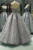 Sweetheart Gray Sleeveless Long Ball Gown Shiny Sequin Prom Dresses OK841