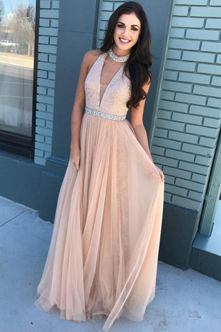 Pink Prom Gown,Beaded Prom Dress,Bodice Prom Gown,High Neck Prom Dresses,Tulle Prom Dress