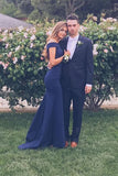 Elegant Prom Dresses,Navy Blue Prom Gown,Off the Shoulder Prom Dress,Mermaid Prom Dress