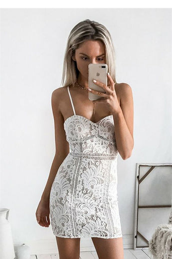 Sexy Sheath Spaghetti Straps Mini Sleeveless Ivory Lace Homecoming Dress OKB39