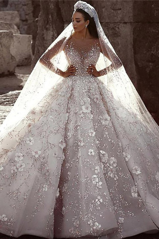 Luxurious Long Sleeves Flowers Ball  Gown Wedding Dress, Bridal Dresses OKQ25