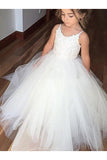 Ball Gown Round Neck Sleeveless Lace Floor-Length Tulle Flower Girl Dresses OK709