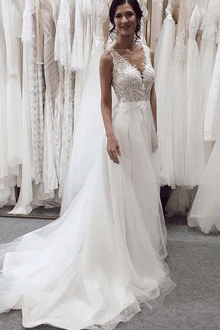 Elegant Tulle Wedding Dresses Deep V-Neck Sleeveless Chapel Train A-Line Applique Bridal Dress OKW23